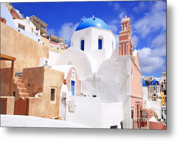 Pink Bell Tower And Blue Dome Church Metal Print