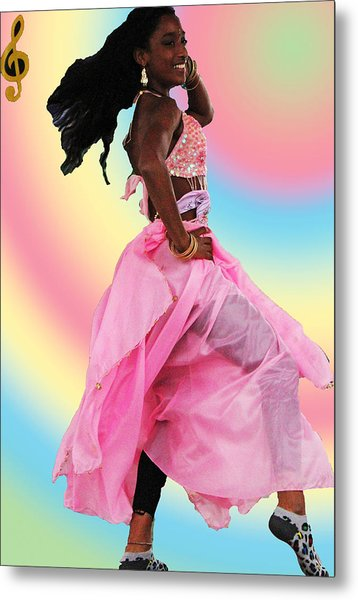 Pink Belly Dancer Metal Print