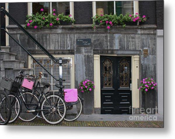 Pink Bikes Of Amsterdam Metal Print