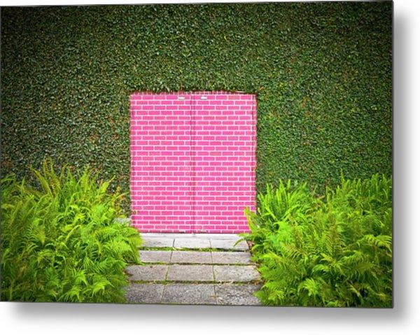 Pink Brick Door Metal Print