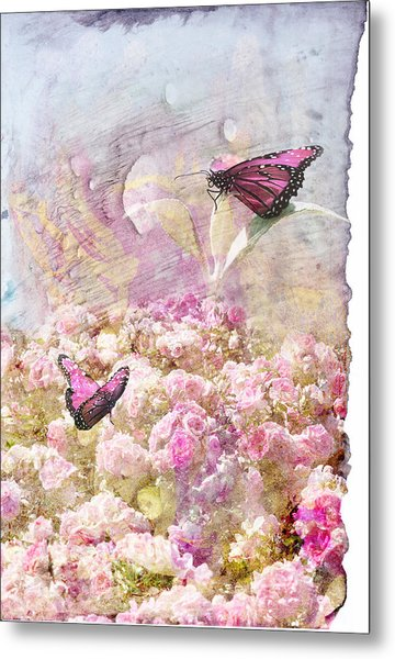 Pink Butterflies Metal Print by Juli Cromer
