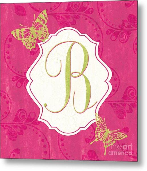 Pink Butterfly Monogram Metal Print