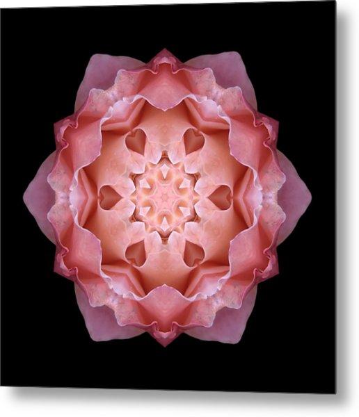 Pink Fall Rose Flower Mandala Metal Print