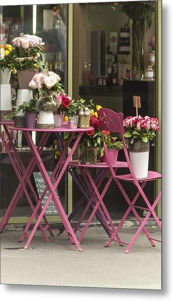 Pink Flower Table Paris Metal Print