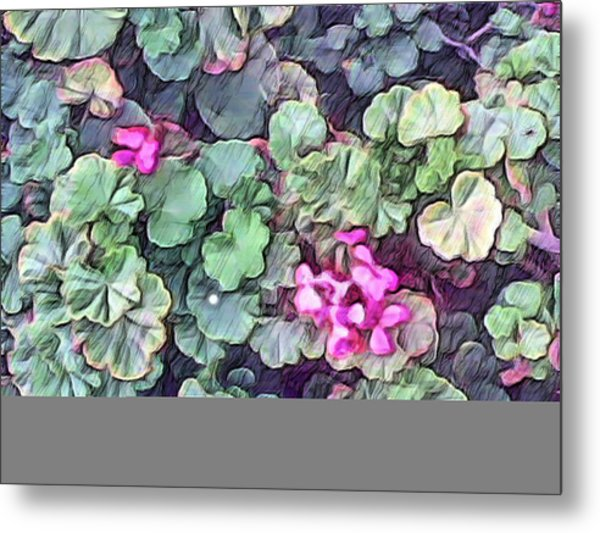 Pink Flowers Painting Metal Print