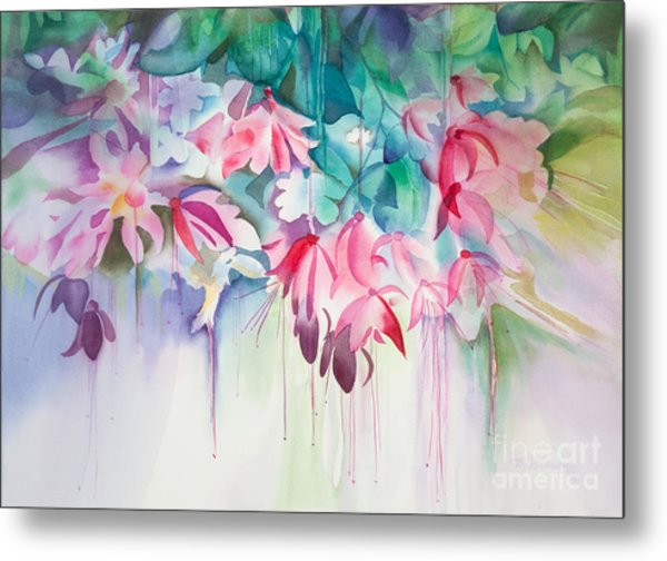 Pink Flowers Watercolor Metal Print