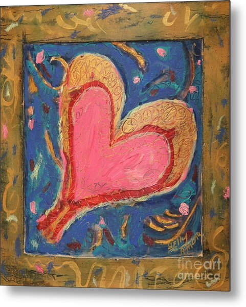 Pink Heart On Beveled Wood Metal Print by Kelly Athena