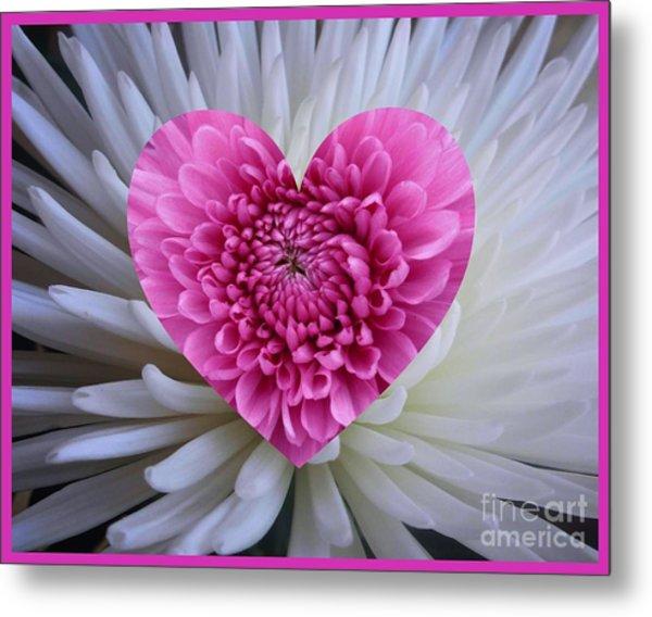 Pink Heart On White Metal Print
