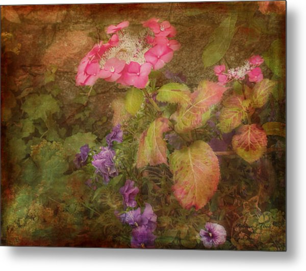 Pink Hydrangea And Purple Pansies Metal Print