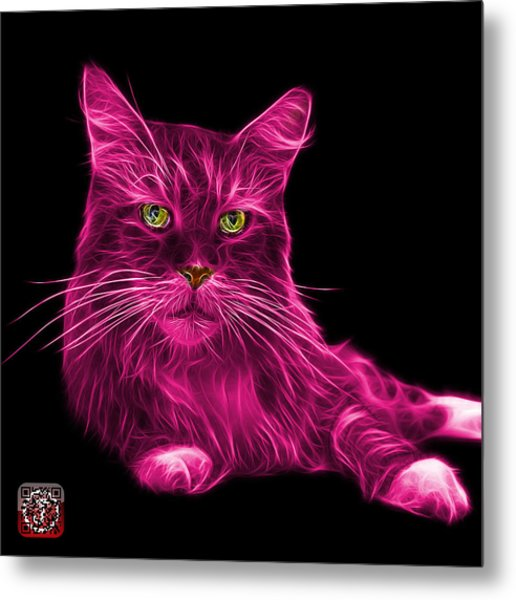 Metal Print featuring the painting Pink Maine Coon Cat - 3926 - Bb by James Ahn