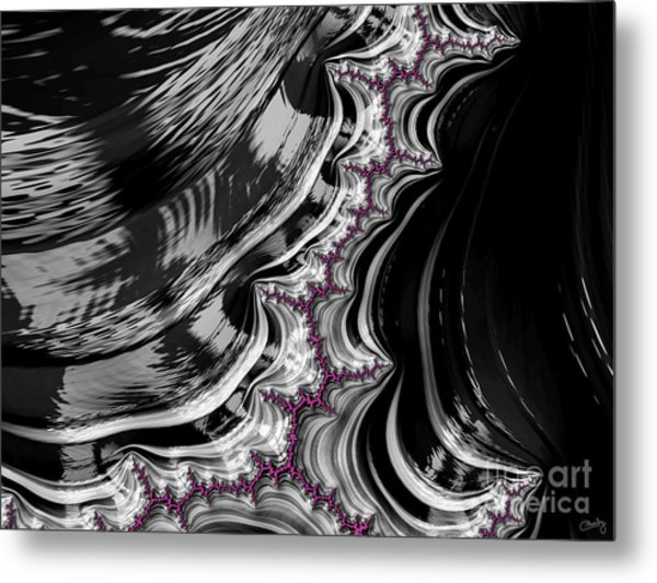 Pink On Black And White Fractal Abstract Metal Print