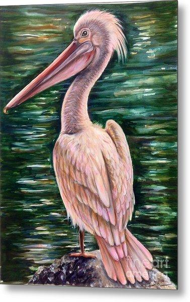Pink Pelican Metal Print