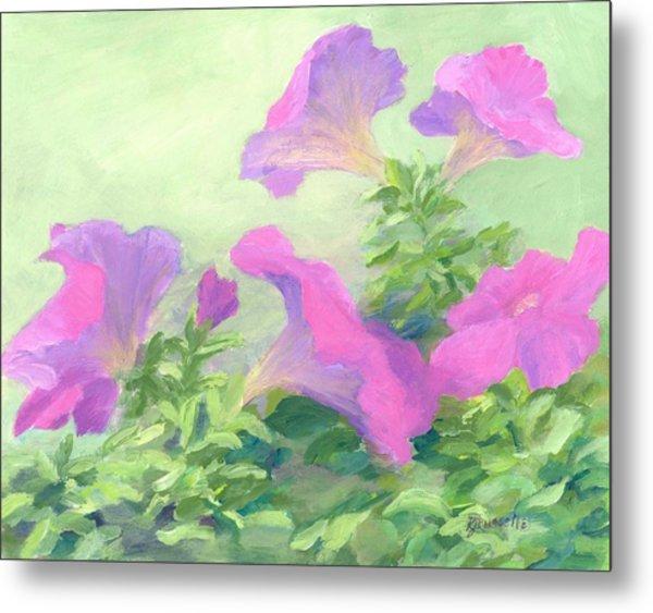 Pink Petunias Beautiful Flowers Art Colorful Original Garden Floral Flower Artist K. Joann Russell  Metal Print
