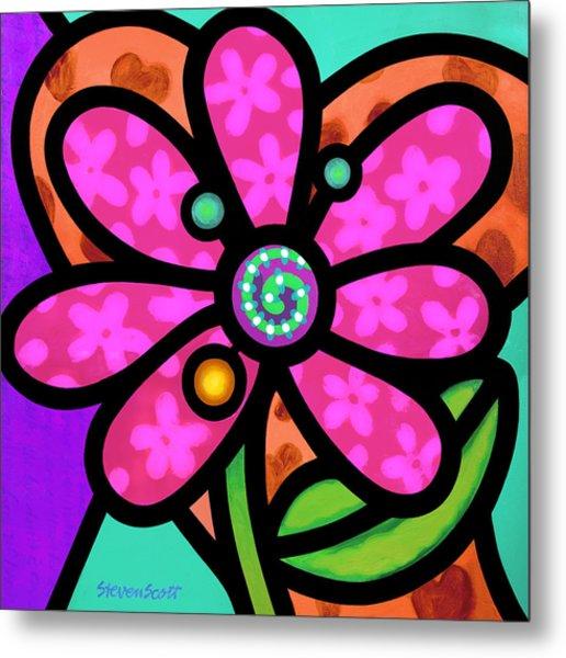 Pink Pinwheel Daisy Metal Print