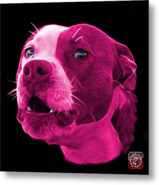 Metal Print featuring the mixed media Pink Pitbull Dog 7769 - Bb - Fractal Dog Art by James Ahn