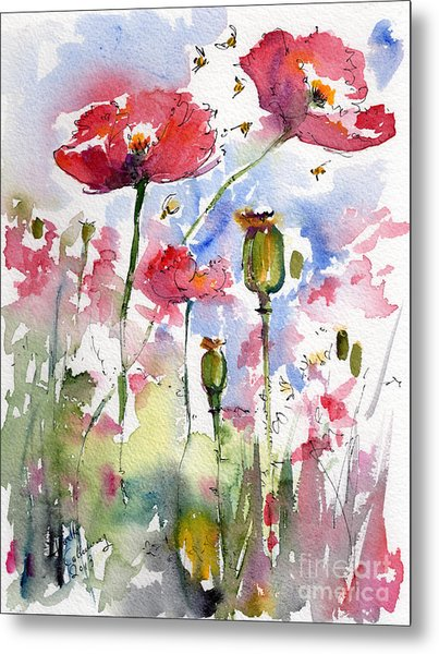Pink Poppies Pods And Bees Watercolor By Ginette Metal Print