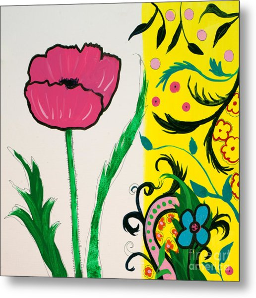 Pink Poppy And Designs Metal Print