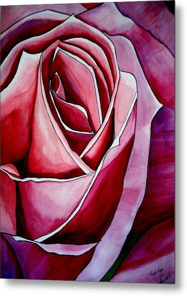 Pink Rose Macro Metal Print by Sacha Grossel