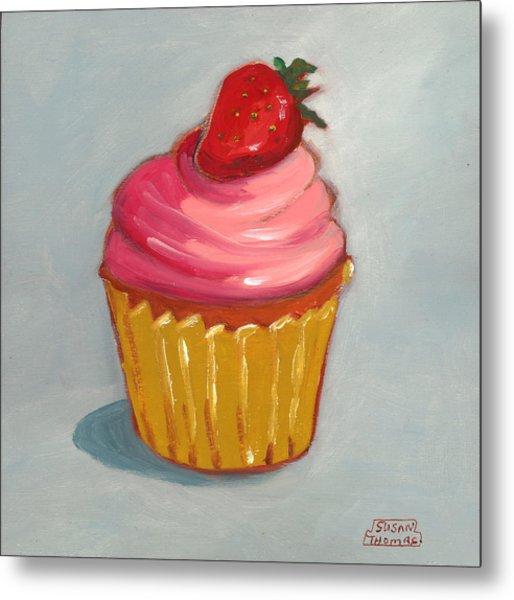 Pink Strawberry Cupcake Metal Print