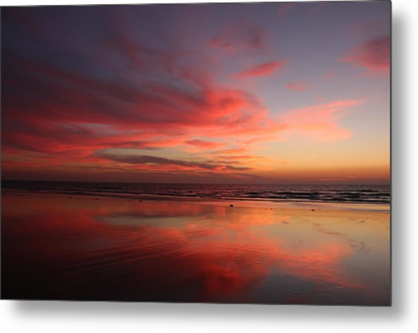 Ocean Sunset Reflected  Metal Print