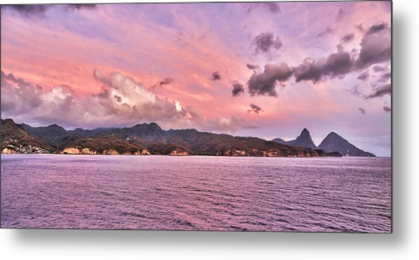 Pink Sunset Cast On The Pitons In St. Lucia Metal Print