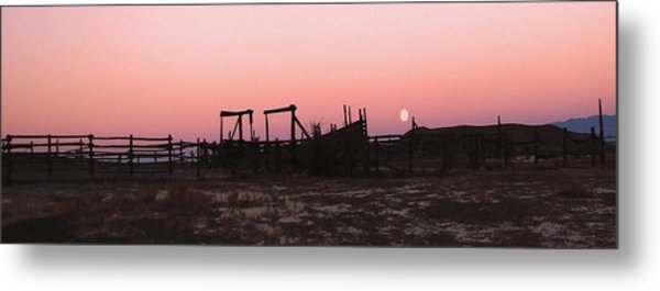 Pink Sunset Over Corral Metal Print