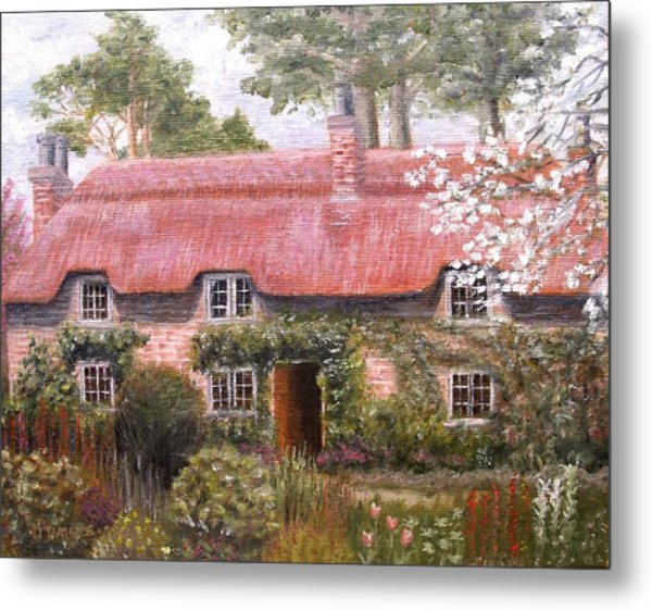 Pink Thatched Cottage Metal Print