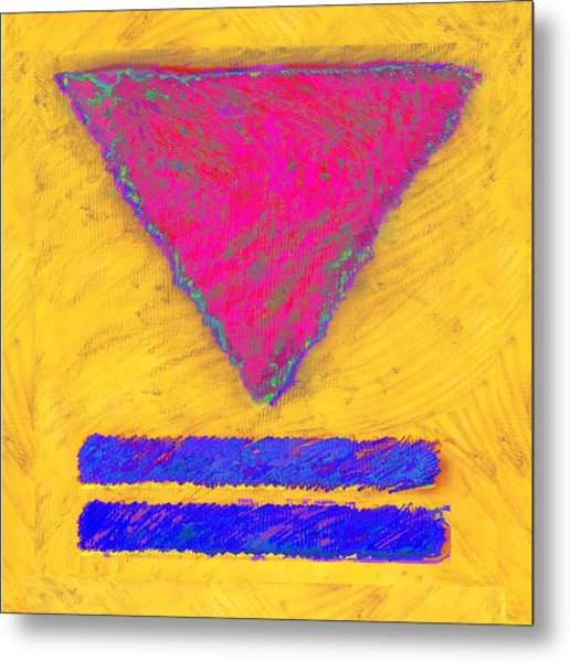 Pink Triangle On Yellow Metal Print