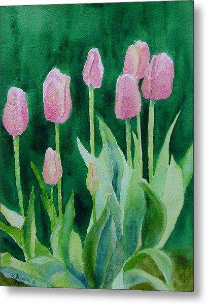 Pink Tulips Colorful Flowers Garden Art Original Watercolor Painting Artist K. Joann Russell Metal Print