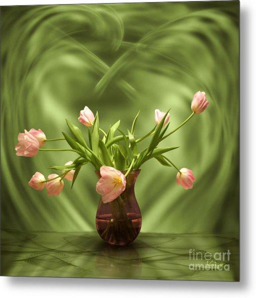 Pink Tulips In Green Room Metal Print