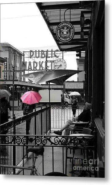 Pink Umbrella Metal Print