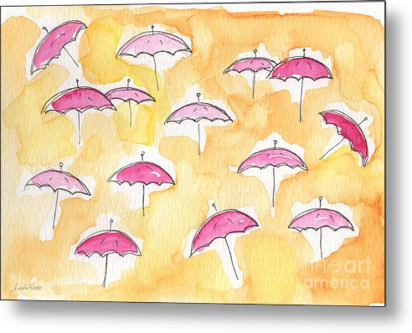 Pink Umbrellas Metal Print