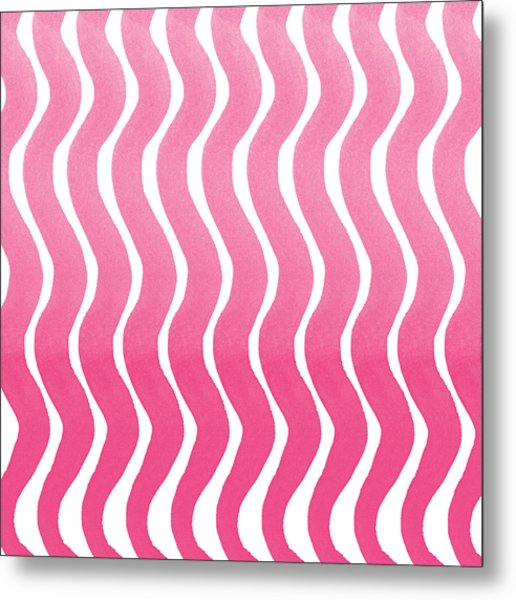 Pink Waves- Abstract Watercolor Pattern Metal Print