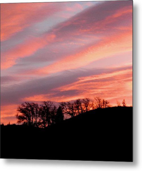 Pinks And Blues With Black Metal Print