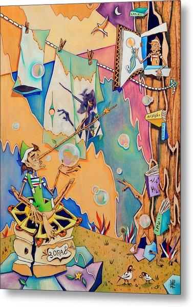 Pinocchio In Venice - Children Book Illustration Metal Print