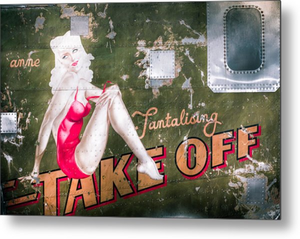 Metal Print featuring the photograph Pinup Girl - Aircraft Nose Art - Take Off Anne by Gary Heller