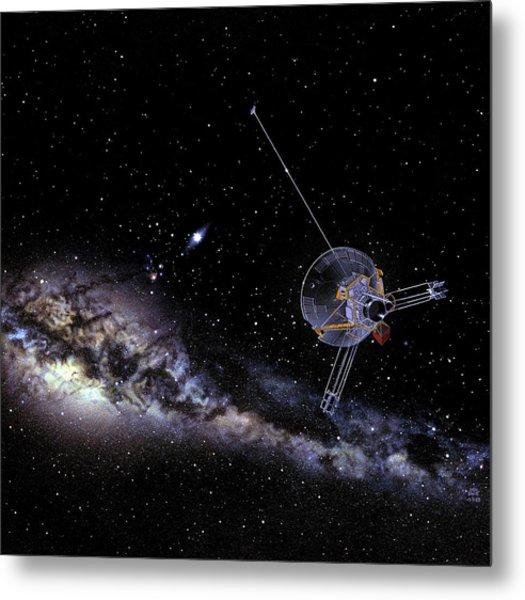 Pioneer Spacecraft In Interstellar Space Metal Print by Nasa