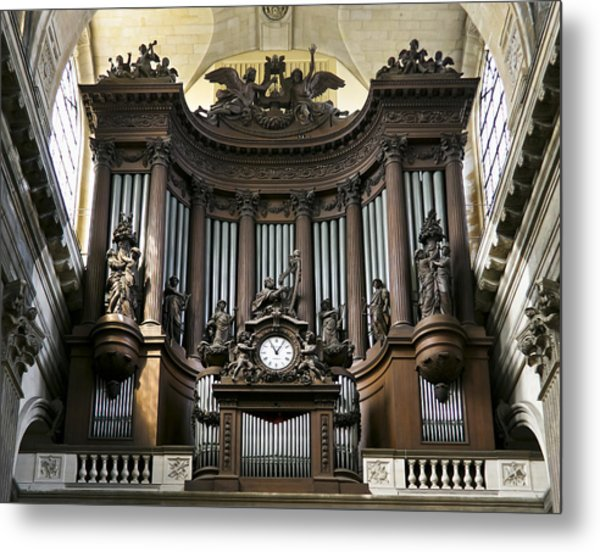 Pipe Organ In St Sulpice Metal Print