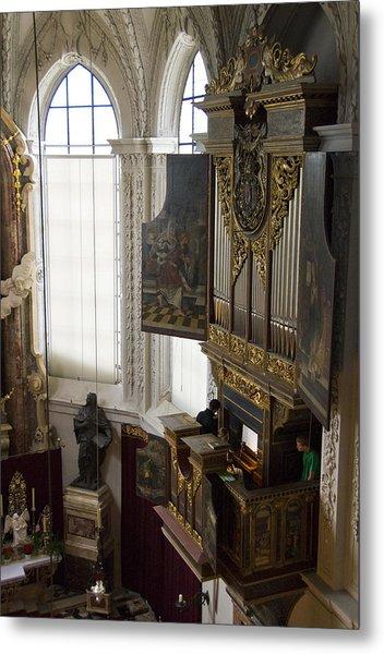 Pipe Organ Stall In Hofkirche (court Church). Metal Print by Dennis K. Johnson