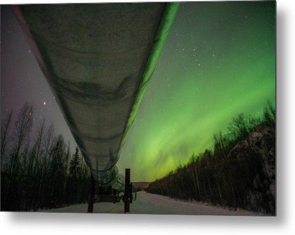 Pipeline And Aurora Metal Print