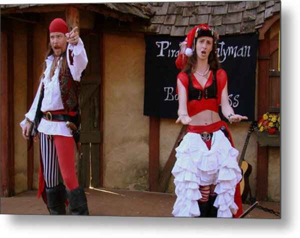 Pirate Shantyman And Bonnie Lass Metal Print