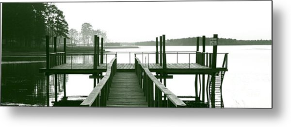 Pirate's Cove Pier In Monochrome Metal Print