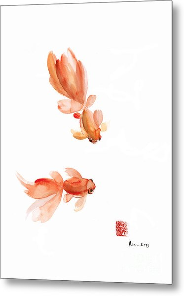 Pisces Zodiac Fishes Orange Red  Pink Fish Water Goldfish Watercolor Painting Metal Print