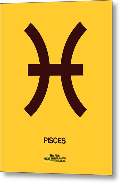 Pisces Zodiac Sign Brown Metal Print