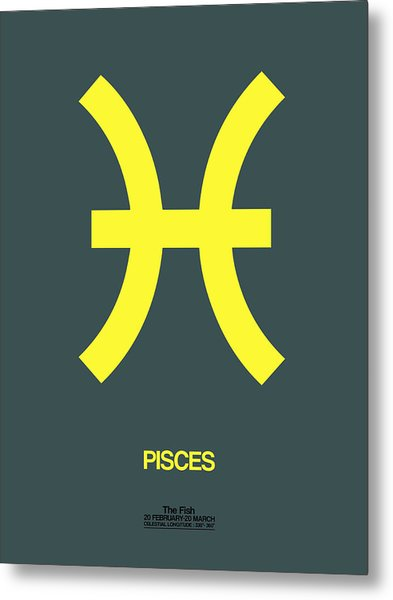 Pisces Zodiac Sign Yellow Metal Print