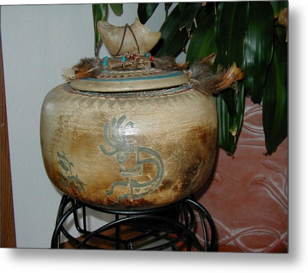 Pit Fired Seed Jar Metal Print by Beth Gramith