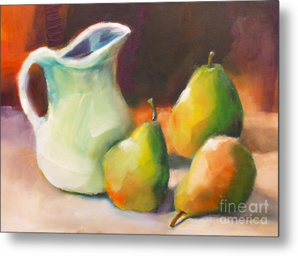 Pitcher And Pears Metal Print
