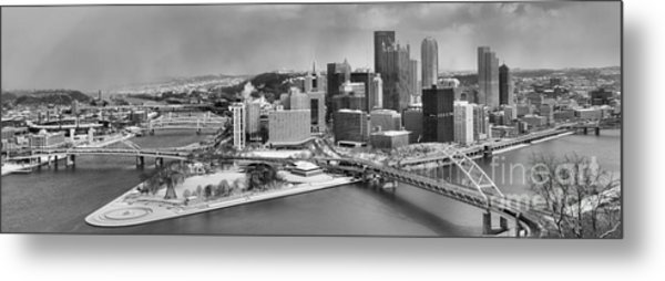Pittsburgh Black And White Winter Panorama Metal Print