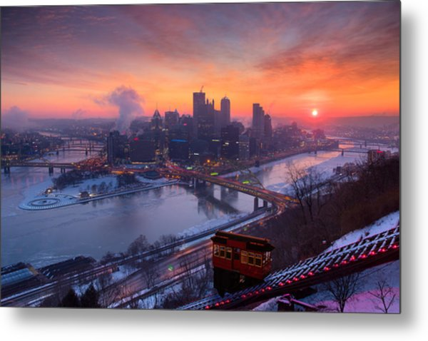 Pittsburgh Skyline Winter 2 Metal Print
