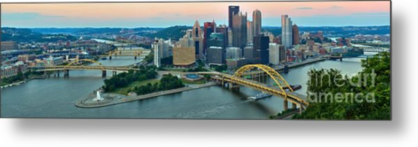 Pittsburgh Panorama At Dusk Metal Print